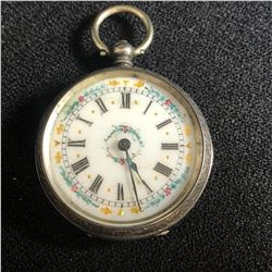 SOLID SILVER DOUBLE DOOR KEY WIND POCKET WATCH WITH ORNATE DIAL