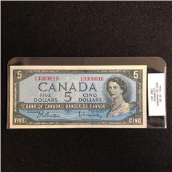 1954 CANADIAN $5 BANK NOTE (BEATTIE RAMINSKY)