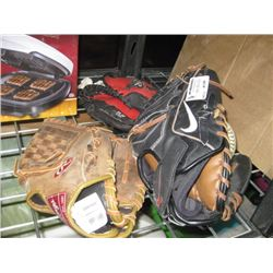 SET OF 3 ASSORTED BASEBALL GLOVES