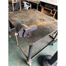 BRSD ( 43x 49 inch metal table on rollers with vise