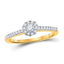 1/3 CTW Round Diamond Solitaire Bridal Wedding Engagement Ring 10kt Yellow Gold - REF-27A5N