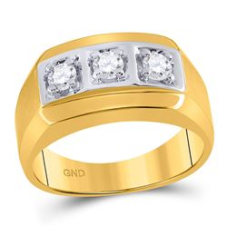 1/2 CTW Mens Round Diamond 3-stone Fashion Ring 14kt Yellow Gold - REF-57F3M