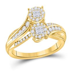 1/2 CTW Princess Diamond Cluster Bridal Wedding Engagement Ring 14kt Yellow Gold - REF-54R3H