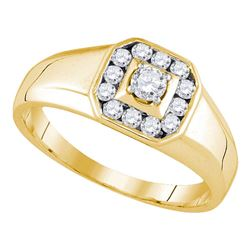 1/2 CTW Mens Round Diamond Cluster Ring 14kt Yellow Gold - REF-57X5T