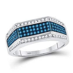 3/4 CTW Mens Round Blue Color Enhanced Diamond Triple Stripe Flat Surface Ring 10kt White Gold - REF