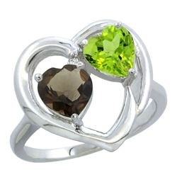 2.61 CTW Diamond, Quartz & Peridot Ring 14K White Gold - REF-33W9F