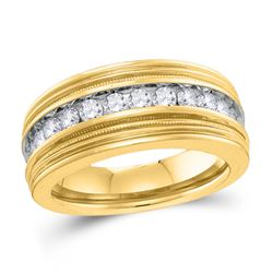 1 CTW Mens Round Diamond Milgrain Wedding Ring 10kt Yellow Gold - REF-77M9A