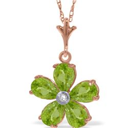 Genuine 2.22 ctw Peridot & Diamond Necklace 14KT Rose Gold - REF-30T2A