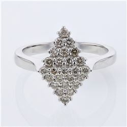 0.54 CTW Diamond Ring 14K White Gold - REF-45K9W