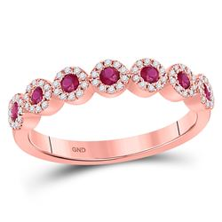 1/2 CTW Round Ruby Halo Stackable Ring 10kt Rose Gold - REF-27R3H