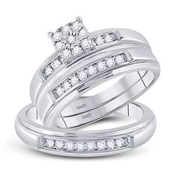 3/8 CTW His & Hers Round Diamond Solitaire Matching Bridal Wedding Ring 10kt White Gold - REF-41T9K