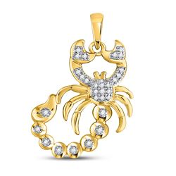 1/10 CTW Mens Round Diamond Scorpion Charm Pendant 10kt Yellow Gold - REF-14N4Y
