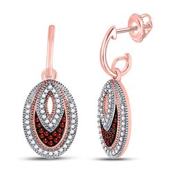 1/3 CTW Round Red Color Enhanced Diamond Oval Dangle Screwback Earrings 10kt Rose Gold - REF-32K3R