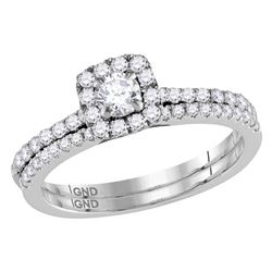 3/4 CTW Round Diamond Slender Halo Bridal Wedding Engagement Ring 14kt White Gold - REF-81H3W