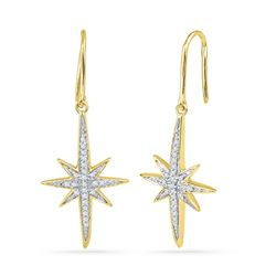 1/6 CTW Round Diamond Starburst Dangle Earrings 10kt Yellow Gold - REF-14W4F