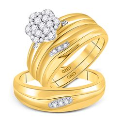 3/8 CTW His & Hers Round Diamond Cluster Matching Bridal Wedding Ring 10kt Yellow Gold - REF-41K9R