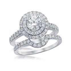 1 & 3/4 CTW Round Diamond Double Halo Bridal Wedding Engagement Ring 14kt White Gold - REF-275N9Y