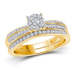 1/2 CTW Round Diamond Bridal Wedding Engagement Ring 10kt Yellow Gold - REF-33X3T