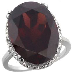13.71 CTW Garnet & Diamond Ring 10K White Gold - REF-77M5A
