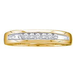 1/4 CTW Mens Round Channel-set Diamond Two-tone Single Row Wedding Ring 14kt Yellow Gold - REF-33W6F