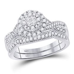 1/2 CTW Princess Diamond Bridal Wedding Engagement Ring 14kt White Gold - REF-71A9N