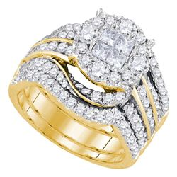 2 & 1/2 CTW Princess Round Diamond Bridal Wedding Engagement Ring 14kt Yellow Gold - REF-215X9T