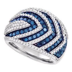 1 & 3/4 CTW Round Blue Color Enhanced Diamond Striped Fashion Ring 10kt White Gold - REF-77H9W