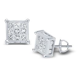 1 CTW Princess Diamond Cluster Stud Earrings 14kt White Gold - REF-54A3N