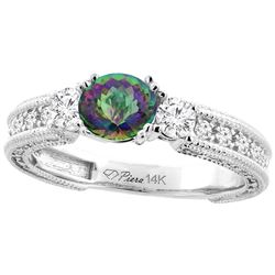 1.55 CTW Mystic Topaz & Diamond Ring 14K White Gold - REF-85M5A