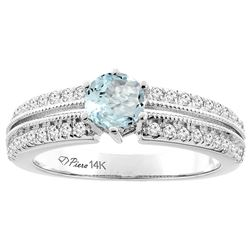1.10 CTW Aquamarine & Diamond Ring 14K White Gold - REF-69V2R