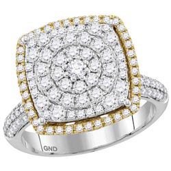 1 & 3/8 CTW Round Diamond Square Cluster Ring 14kt Two-tone Gold - REF-105F6M