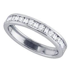 1/2 CTW Machine Set Round Diamond Wedding Anniversary Ring 14kt White Gold - REF-41F9M