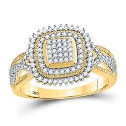 1/4 CTW Round Diamond Square Frame Cluster Ring 10kt Yellow Gold - REF-25W5F