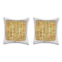 1/10 CTW Mens Round Yellow Color Enhanced Diamond Square Earrings 10kt White Gold - REF-7Y5X
