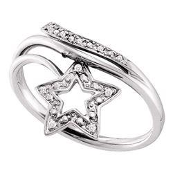 0.03 CTW Round Diamond Star Bypass Ring 10kt White Gold - REF-11N9Y