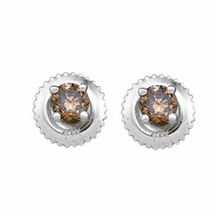 1/2 CTW Round Brown Diamond Stud Earrings 10kt White Gold - REF-18H3W