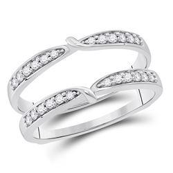 1/4 CTW Round Diamond Wrap Ring 14kt White Gold - REF-35W9F