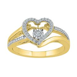 1/10 CTW Round Diamond Heart Moving Twinkle Ring 10kt Yellow Gold - REF-20F3M