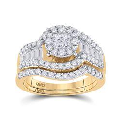 1 & 1/4 CTW Princess Diamond Bridal Wedding Engagement Ring 14kt Yellow Gold - REF-120T3K