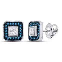 1/3 CTW Round Blue Color Enhanced Diamond Square Frame Cluster Earrings 10kt White Gold - REF-21R5H