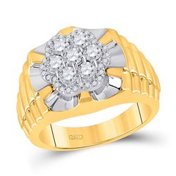 1 CTW Mens Round Diamond Flower Cluster Ribbed Ring 10kt Two-tone Yellow White Gold - REF-111F3M