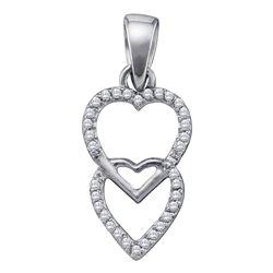 1/10 CTW Round Diamond Double Hanging Heart Pendant 10kt White Gold - REF-5T9K