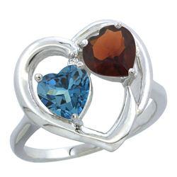 2.61 CTW Diamond, London Blue Topaz & Garnet Ring 14K White Gold - REF-34A2X