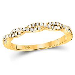 1/4 CTW Round Diamond Twist Stackable Ring 10kt Yellow Gold - REF-22W8F