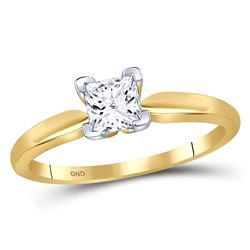 3/4 CTW Princess Diamond Solitaire Bridal Wedding Engagement Ring 14kt Yellow Gold - REF-143W9F