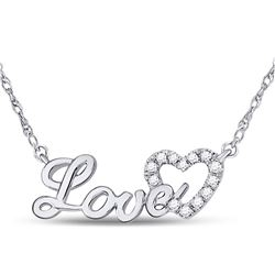 1/6 CTW Round Diamond Love Heart Pendant 10kt White Gold - REF-16M8A