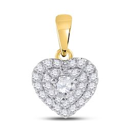 1/3 CTW Round Diamond Fashion Heart Pendant 14kt Yellow Gold - REF-30X3T
