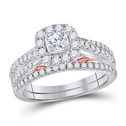 1 CTW Round Diamond Bridal Wedding Engagement Ring 14kt Two-tone Gold - REF-107T9K