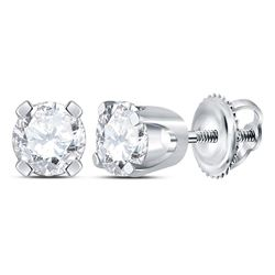 3/8 CTW Unisex Round Diamond Solitaire Stud Earrings 14kt White Gold - REF-33K6R