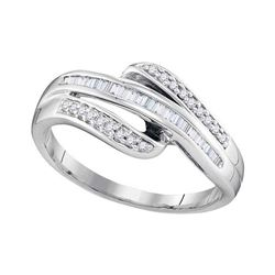 1/5 CTW Baguette Channel-set Diamond Triple Row Ring 10kt White Gold - REF-16F8M